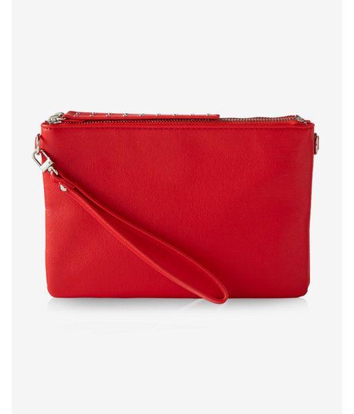 Studded Double Zip Convertible Cross Body Bag Women's Red
