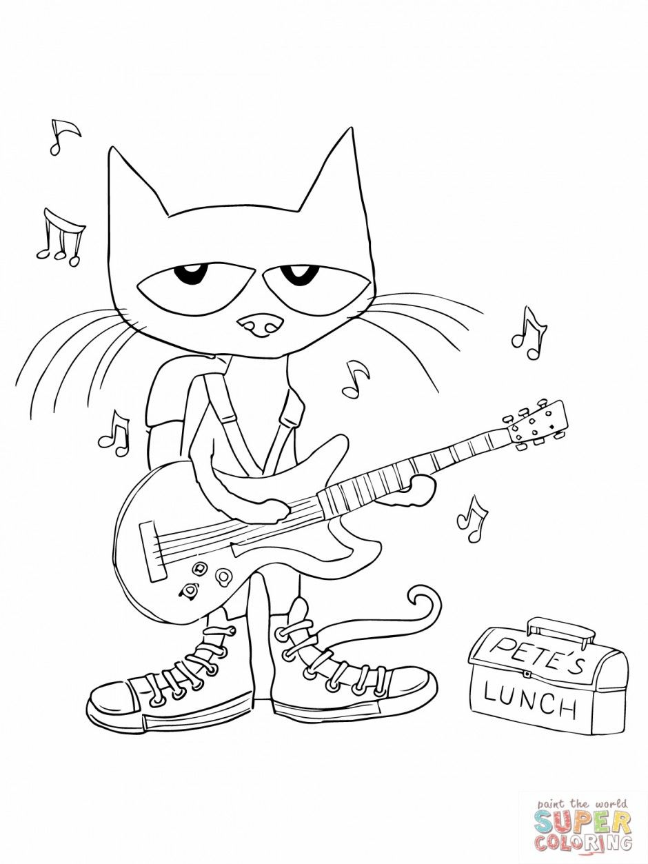 Rockin 39 Pete the Cat coloring page