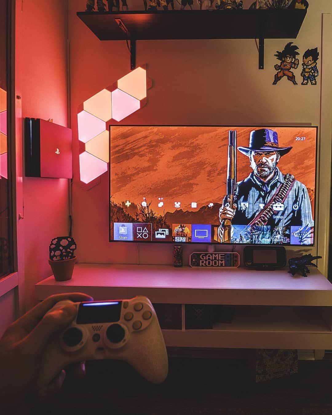 Red Dead Redemption 2 Game Room Design Video Game Room Design Small Game Rooms #tv #settings #in #living #room