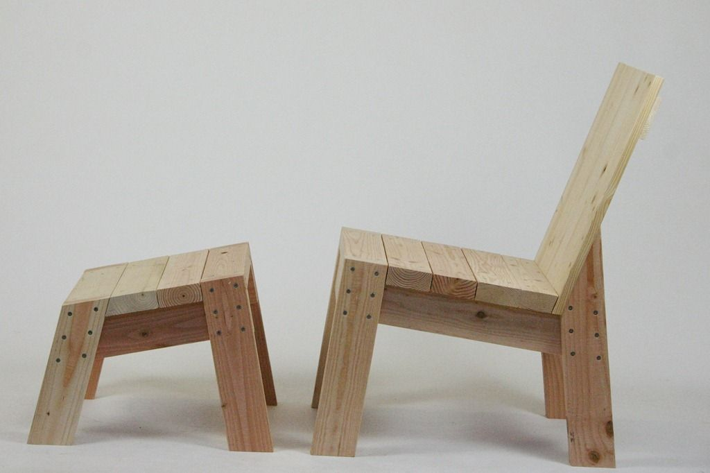 chair and foot stool from 2x4's