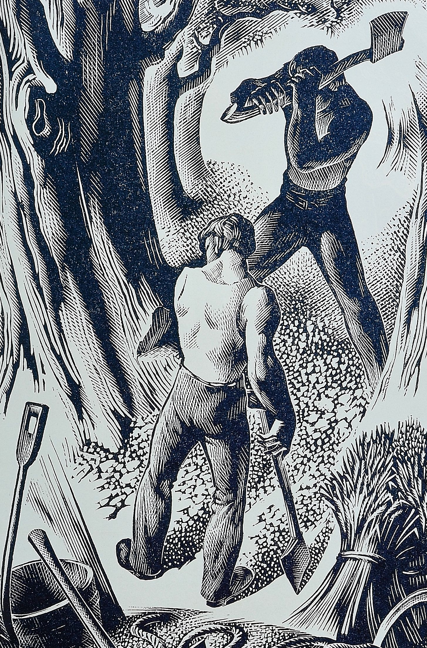 """Woodcutters"" by Agnes Miller Parker 1948 wood engraving"