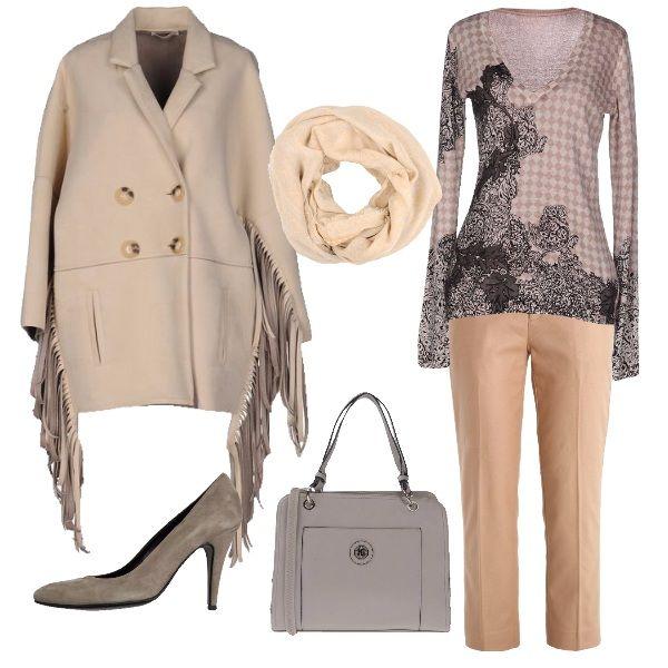 Un look per le amanti dei colori chiari anche d inverno. Il pantalone alla ee126cdee32