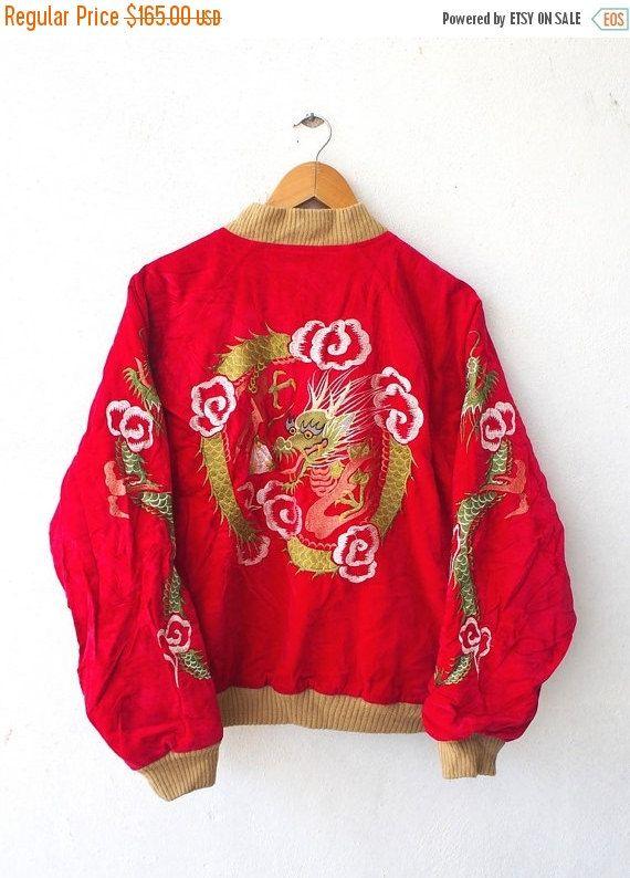 Vintage Houston Sukajan Japanese Tiger Dragon 80s Embroidery