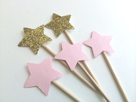 Small STAR Pink and Gold Glitter Cupcake por PaperTrailbyLauraB