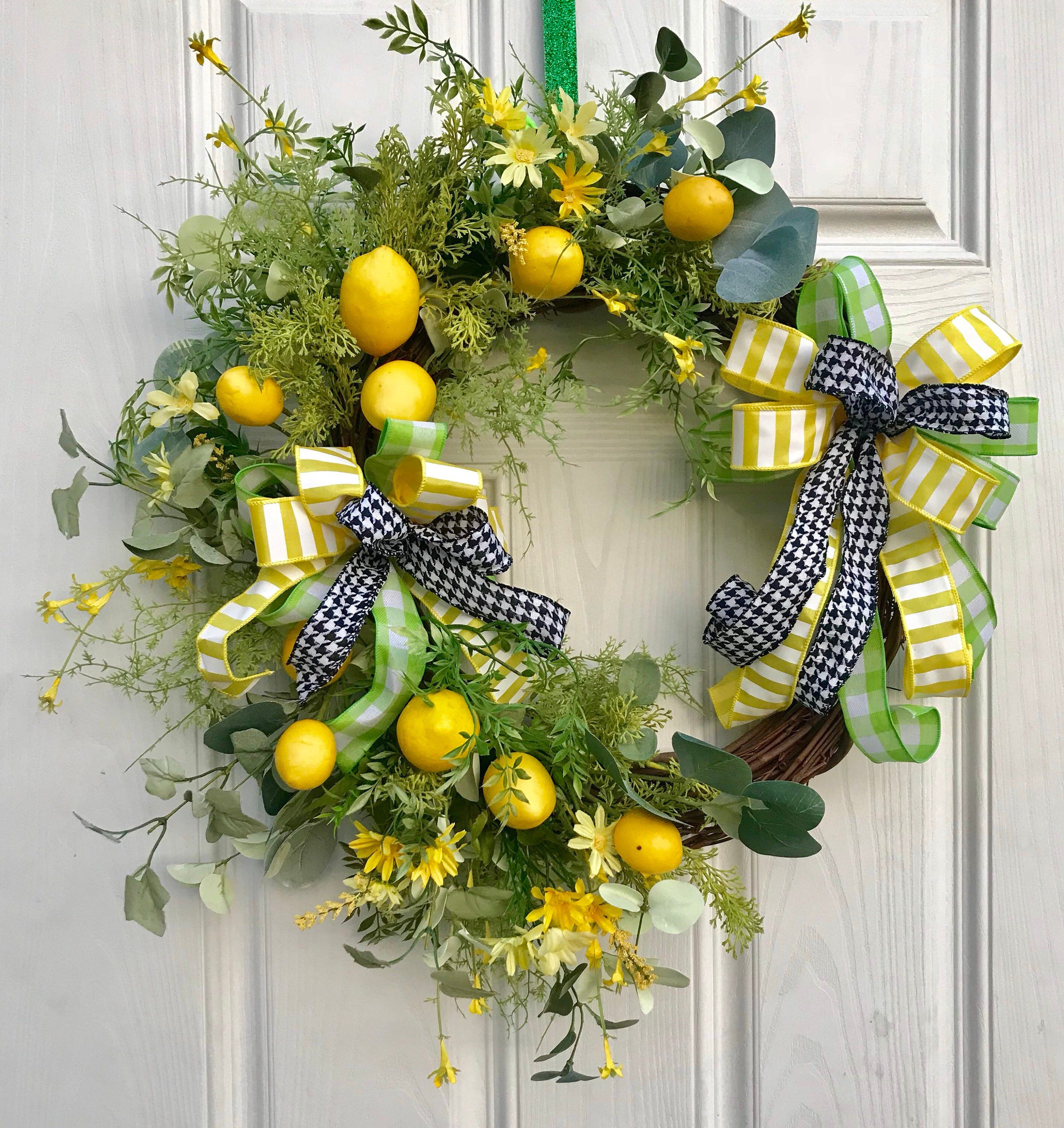 Excited To Share This Item From My Etsy Shop Spring Wreath Lemon Wreath Spring Grapevine