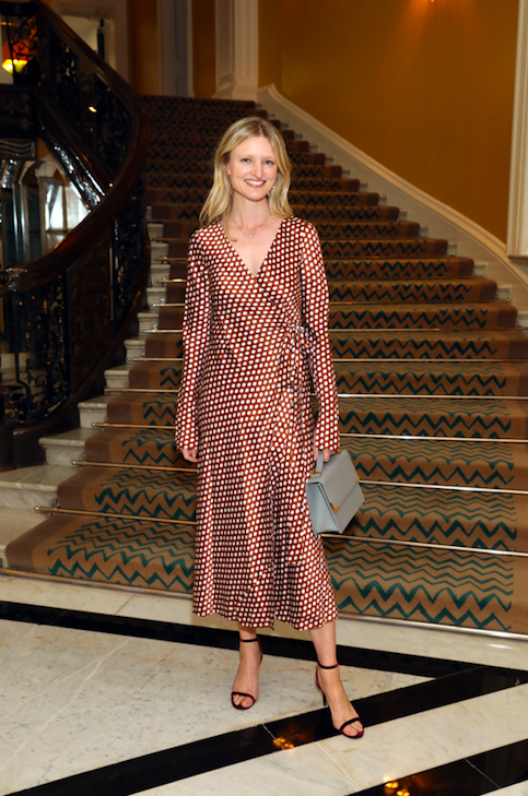 2729402b6f Candice Miller joins Diane von Furstenberg for lunch at her home away from  home, Claridge's. Candice Lake wears the Tilly Satin dress.