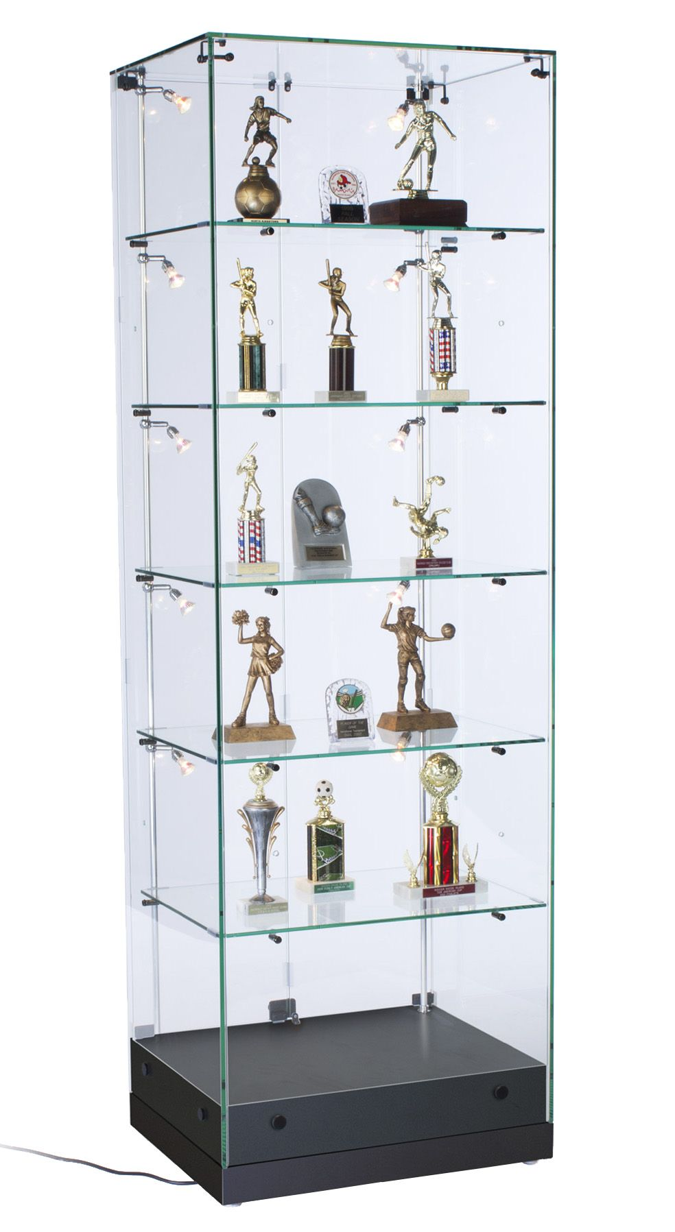 24 Glass Display Case W Led Lights Hinged Door Frameless Ships Assembled Black Glass Display Shelves Glass Showcase Glass Display Case Glass display case with lights