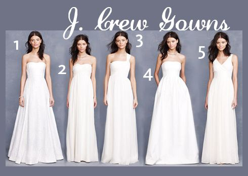 1) Laura Lace Gown, 2) Taryn Gown, 3) Lucienne Gown, 4) Lucinda Ball Gown, 5) Sophia Gown in Silk Chiffon