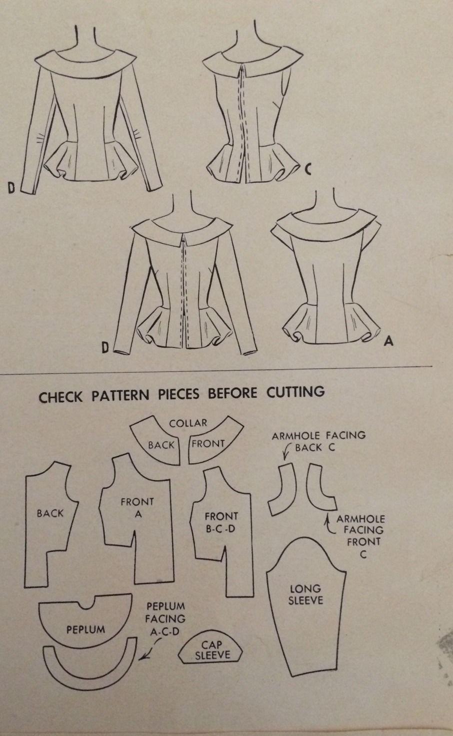 1940\'s Vintage Summer Peplum Blouses Misses\' McCall Sewing Pattern ...