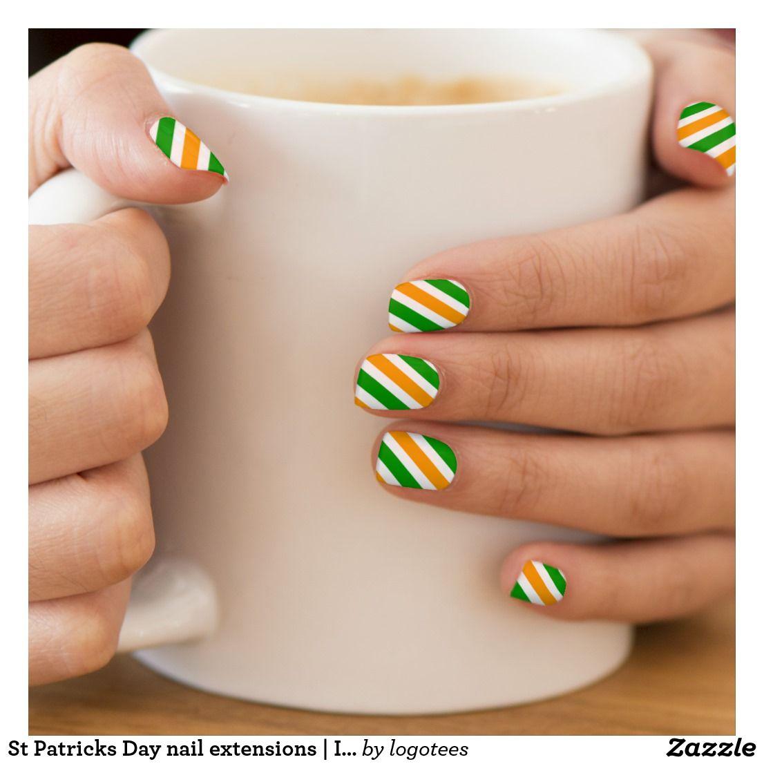 St Patricks Day nail extensions | Irish flag color Minx Nail Art ...