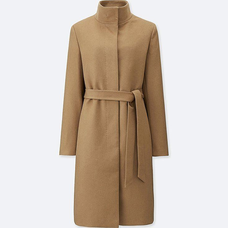 WOMEN CASHMERE BLENDED STAND COLLAR COAT, BEIGE, large in