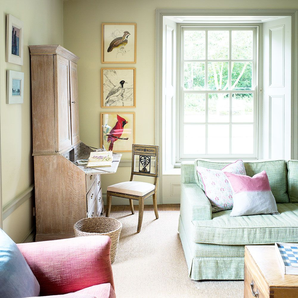 Traditional living room with pale green sofa | Rooms | Pinterest ...