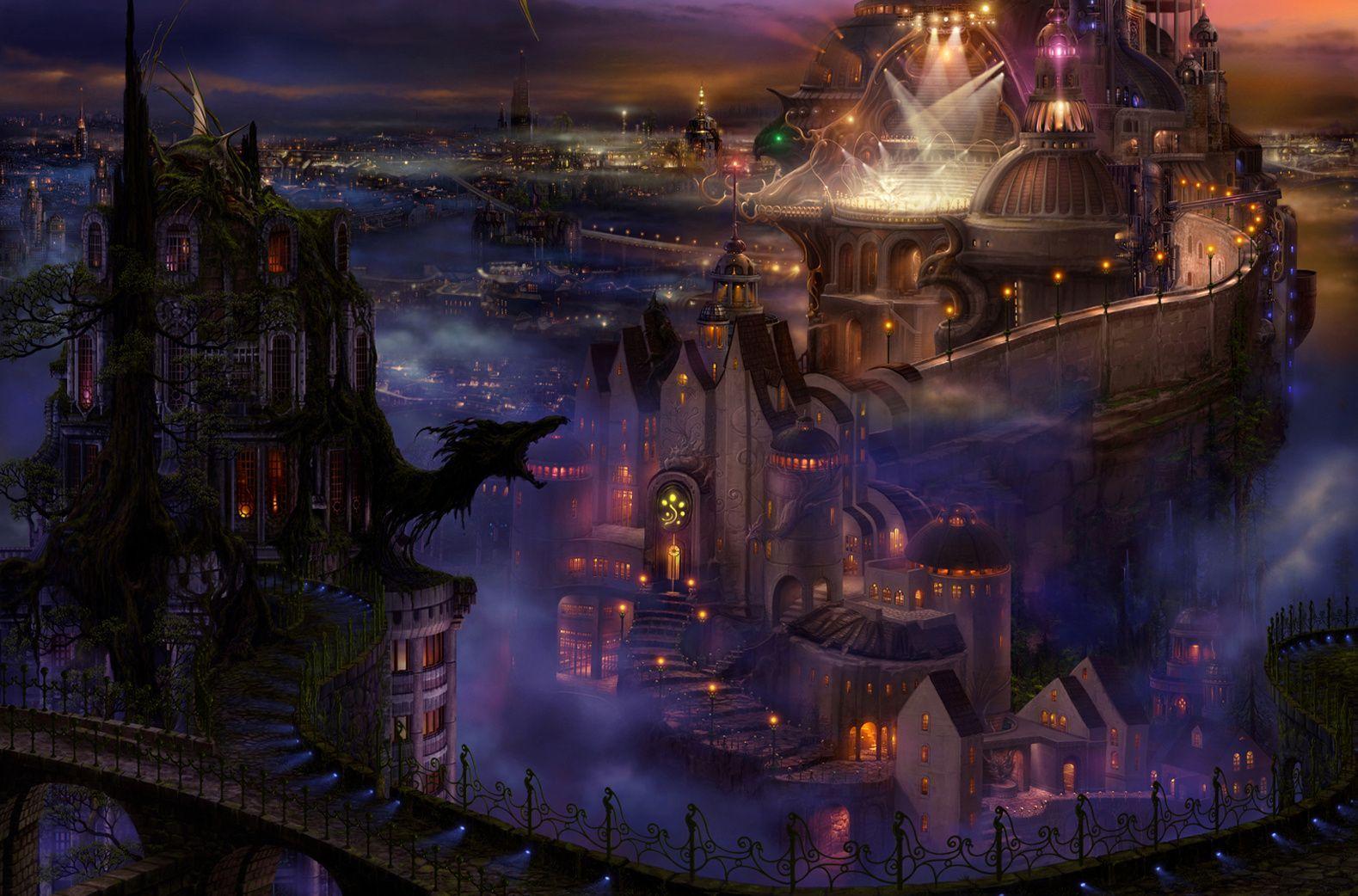 Magical Fantasy Hd Wallpapers That Will Take Your Breathe: A Futuristic Fantasy Castle! Night-castle-dragon-fantasy