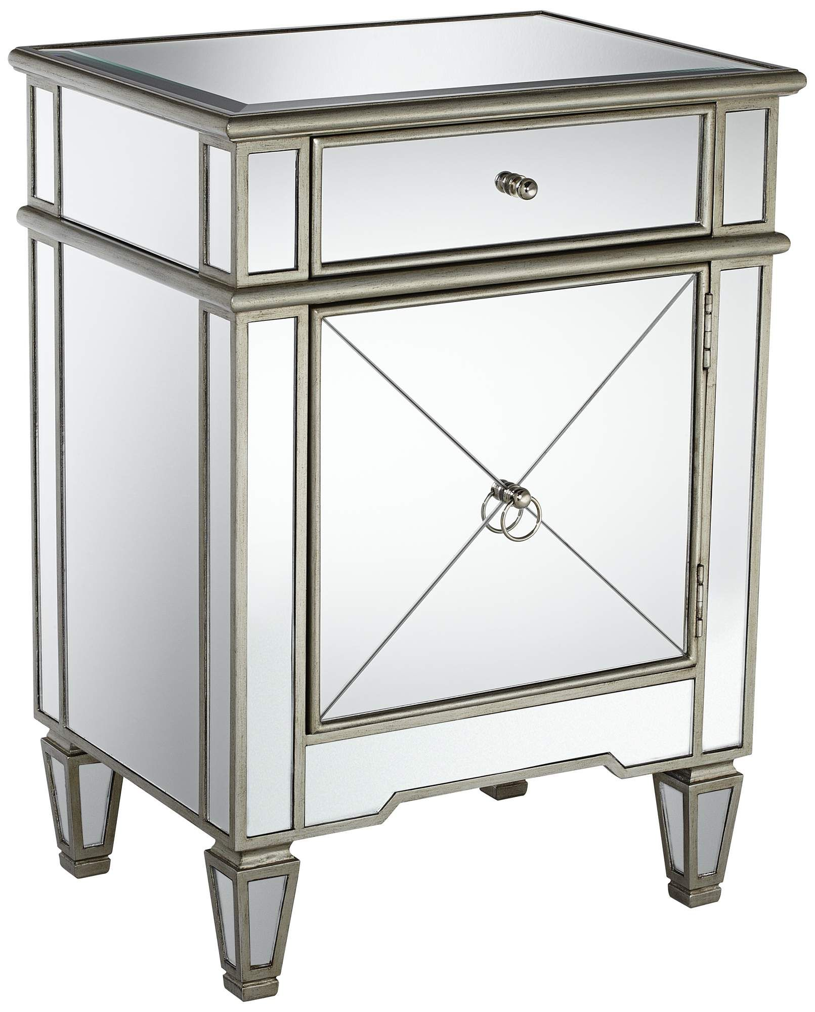 Hayworth Mirrored Antique White Nightstand - Nightstands, Bedrooms And Master