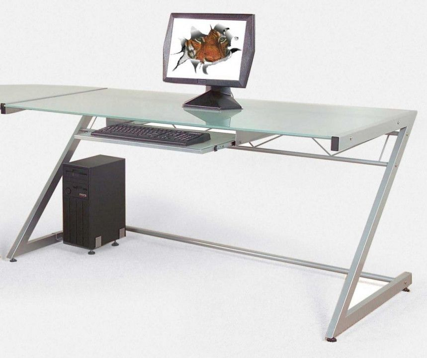 Glass Top Desks With Drawers Diy Corner Desk Ideas Home Office Furniture Desk Contemporary Computer Desk Computer Desk Design