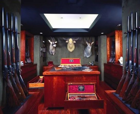 Trophy Gun Room Design In Basement Of Home Awesome Gun