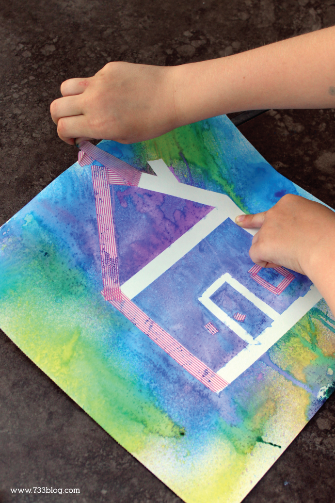 Spray Bottle Painting Get The Kids Outside With This Fun Painting And Tape Bottle Painting Name Crafts Art Activities For Kids