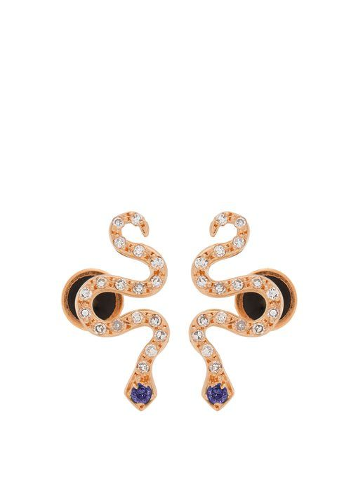 Little Snake 18-karat Rose Gold, Diamond And Sapphire Earrings - one size Ileana Makri
