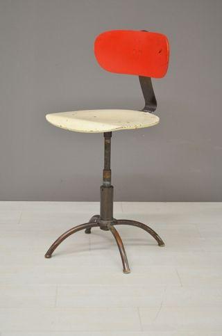 Vintage Bureaustoel De Wit.Bureaustoel Rood Met Wit Office Chair Red With White Vintage