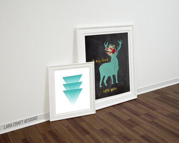 Mint green decor  deer antler decor  / Nurcery baby boy baby girl / nurcery art idea / mint art by LaraBookCraft