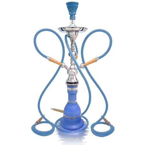Social Smoke Magdy Zidan Luxer Lll Medium 3 Hose Hookah Height 29 5 Base Color Available In Blue Silver Stripe And Green S Hookah Tobacco Leaf Base Colour