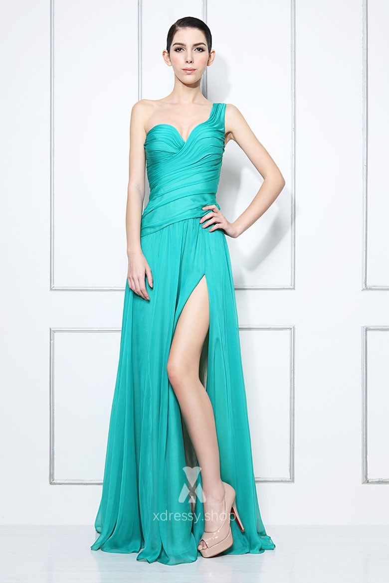 ad39d15950a One shoulder ruched sweetheart neckline