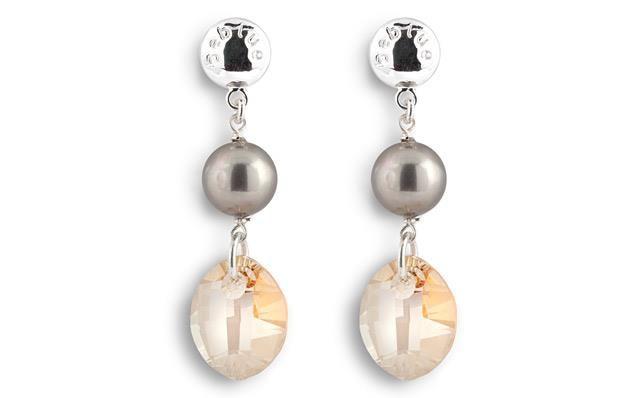 [CHAMPAGNE BO1213] Boucles d'oreilles en argent 925 avec perle de nacre et cristal Swarovski pendant. | Sterling silver earring with mother of pearl and Swarovski crystal pendant.