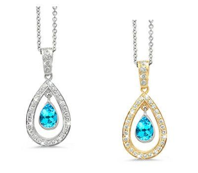 Twin Pear Blue Topaz & Diamond Pendant Necklace