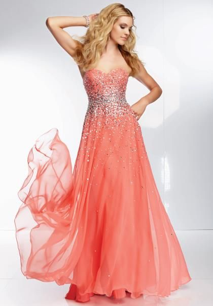 Coral fitted long dress