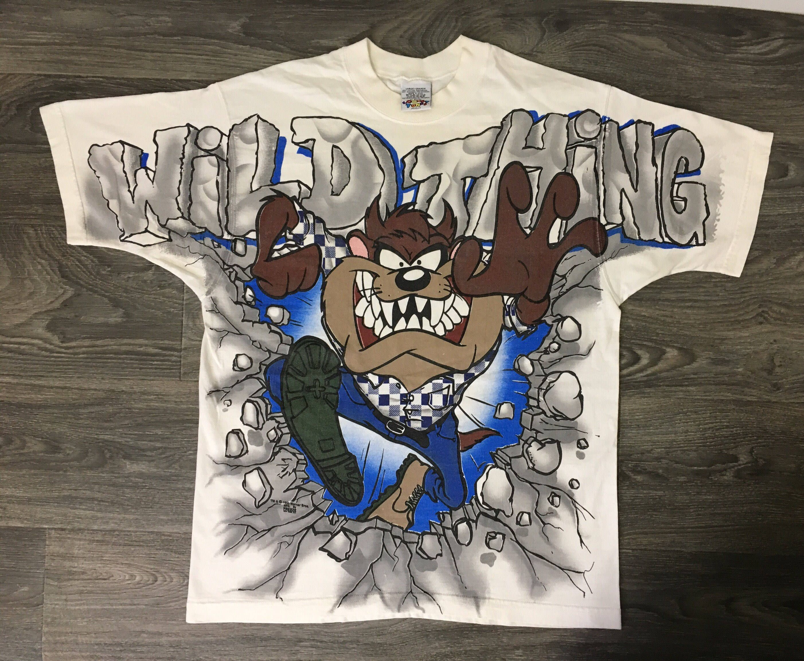 833245e15758 Looney Tunes Shirt 1995 90s Vintage Taz All Over Tasmanian Devil Cartoon  Tshirt Wild Thing Bugs Bunny Official Warner Brothers Tee Large by  sweetVTGtshirt ...