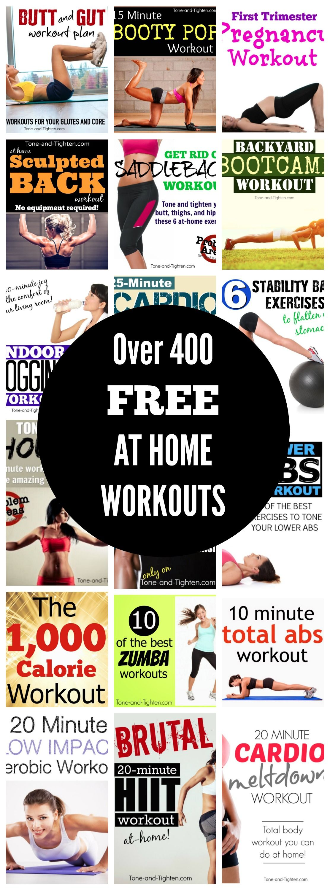 Over 400 FREE HOME Home Workouts on Tone-and-Tighten.com - every body part, every level of fitness!