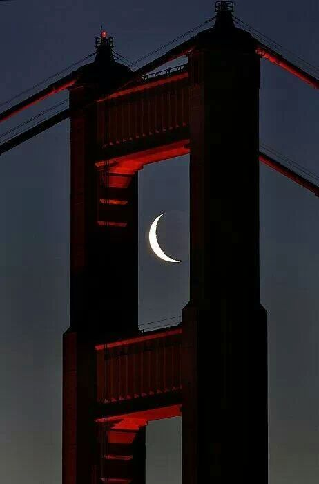 Sliver of a Moon - Golden Gate Bridge, San Francisco, Ca