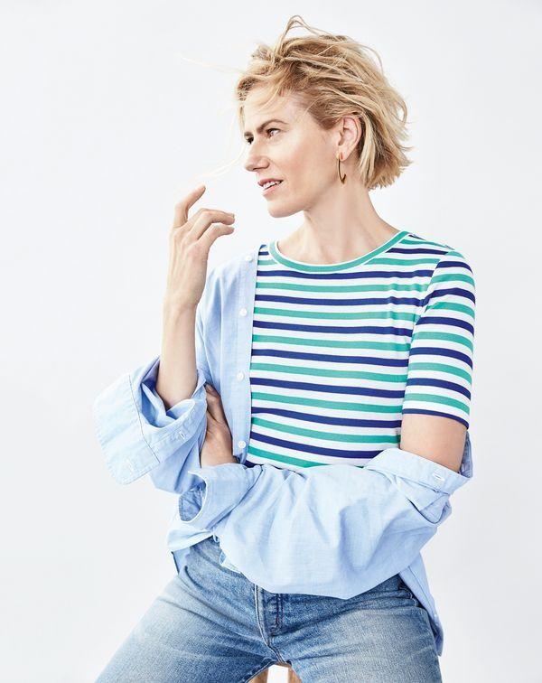 Women's Slim Perfect T-Shirt In Stripe - Women's Knits