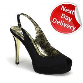 da94e22d56 Peony 03 Black Satin Low Platform Peep-Toe Sling Back 4 1/2 Inch Heel Shoes