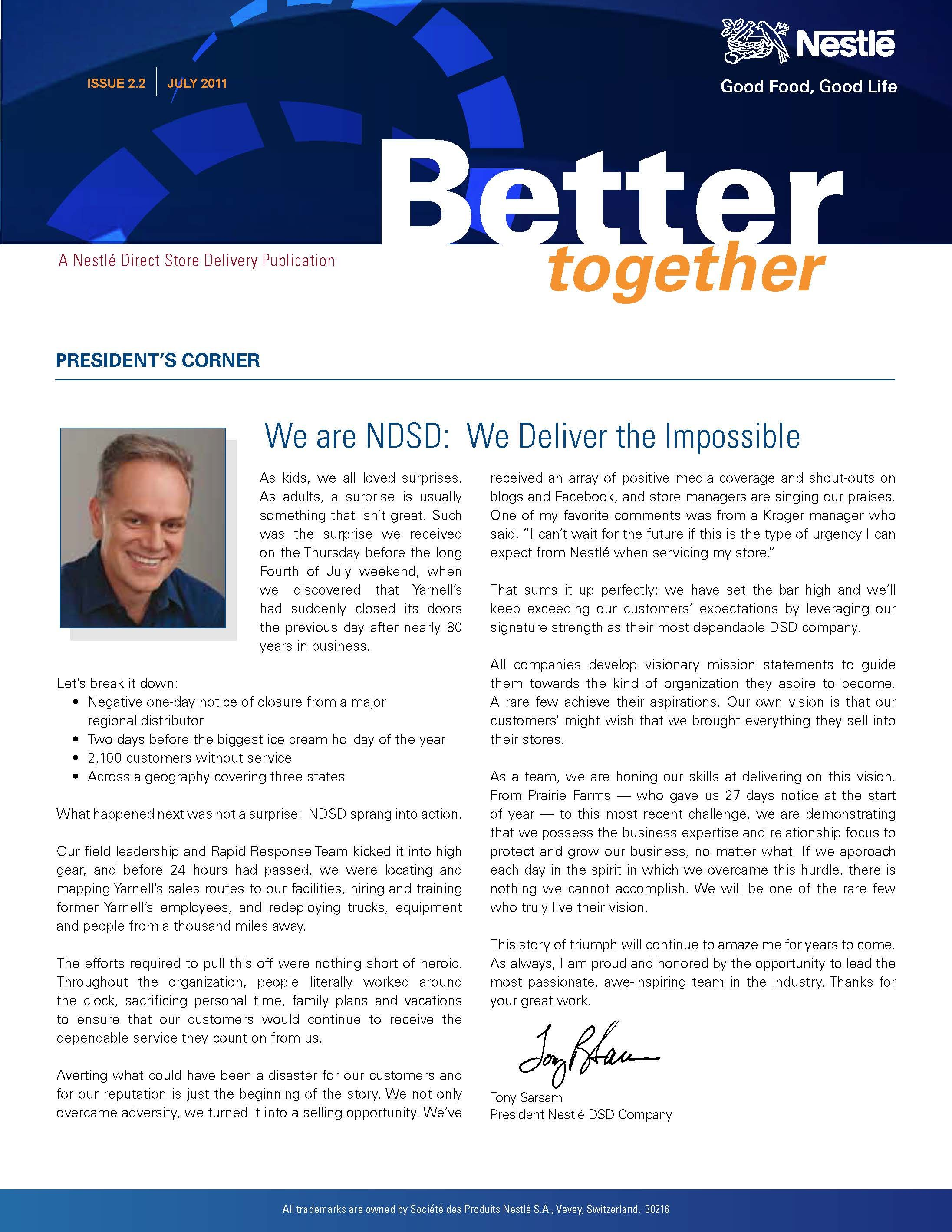 Better Together Nestle DsdS SemiMonthly Newsletter From The