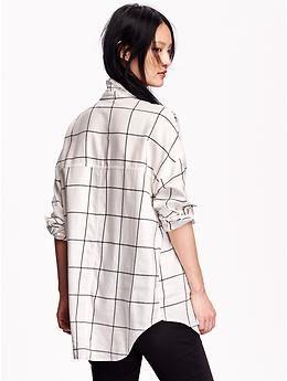 7ddb980028be7 Women s Boyfriend Windowpane Flannel Shirt