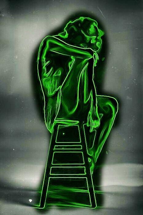 Girl sitting on a ladder green neon light art