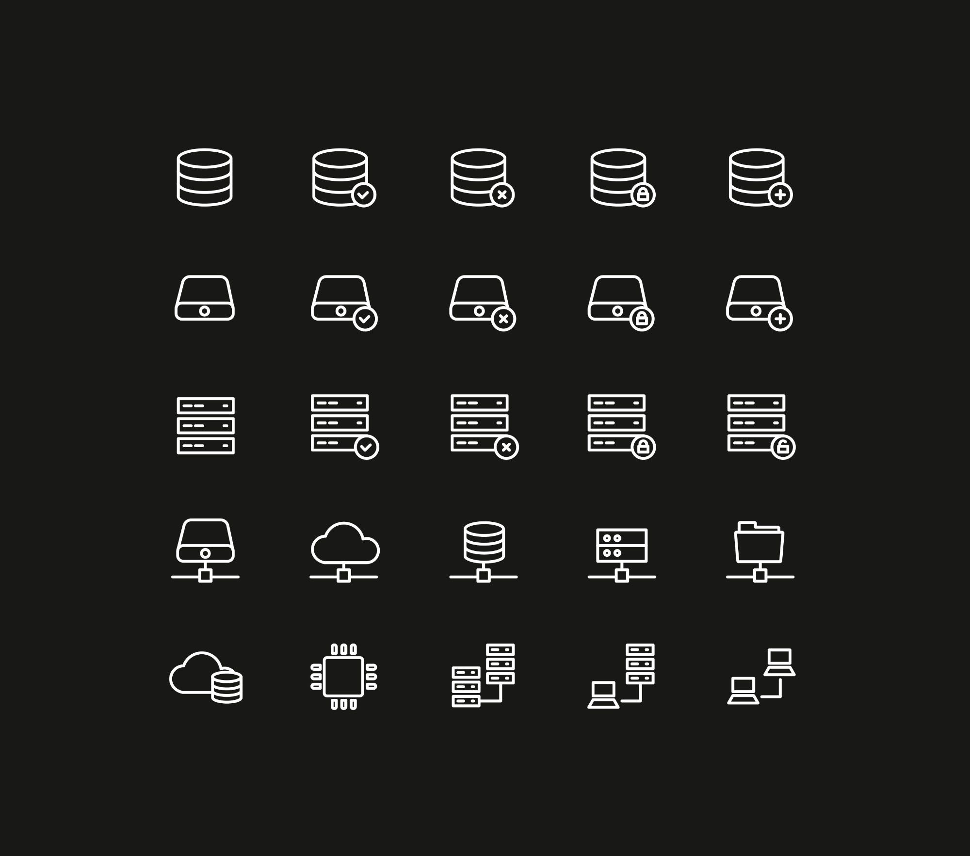 Database Storage Icons Dark Icon, Tech company logos