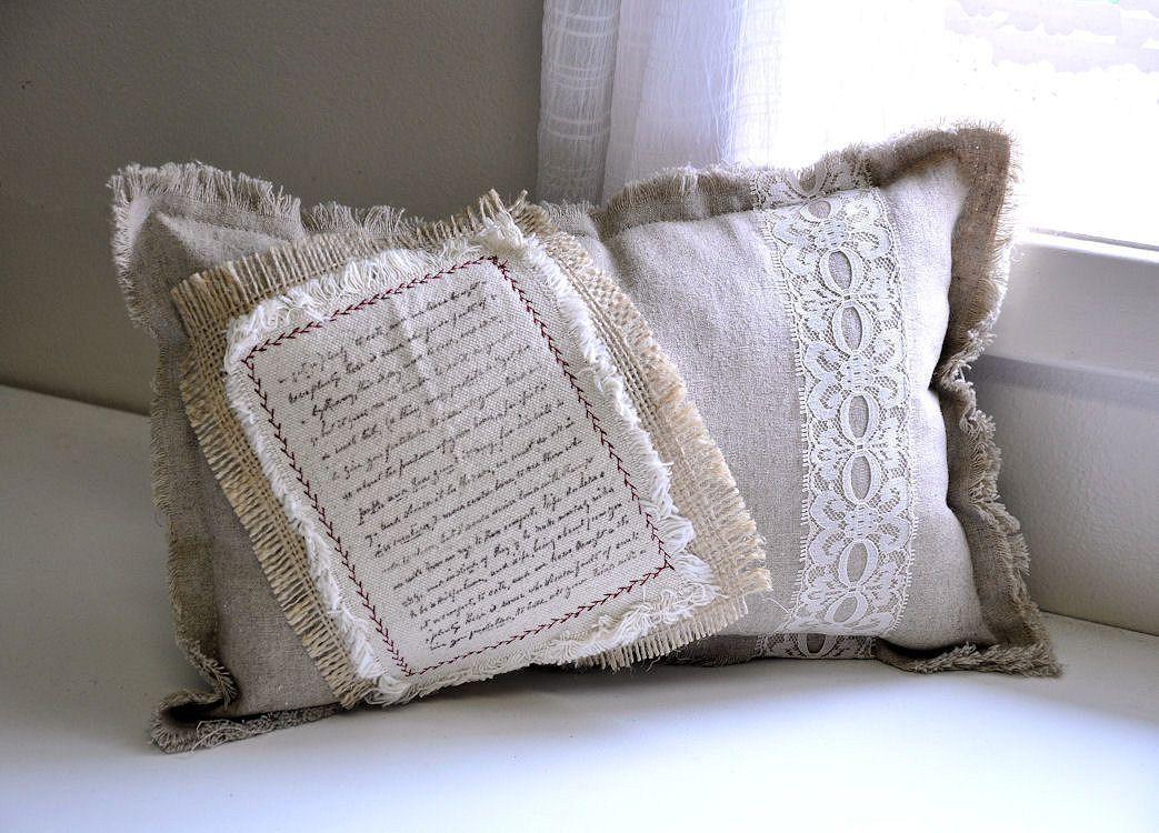French script linen pillow.