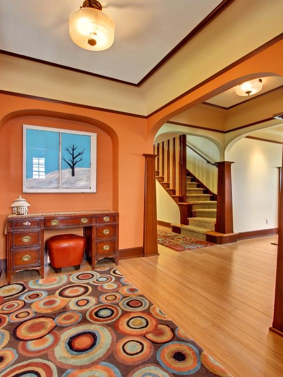Furniture, Craftsman Style Interiors For Entry Also Salmon Wall Paint Color  Also Brown Teak Wooden