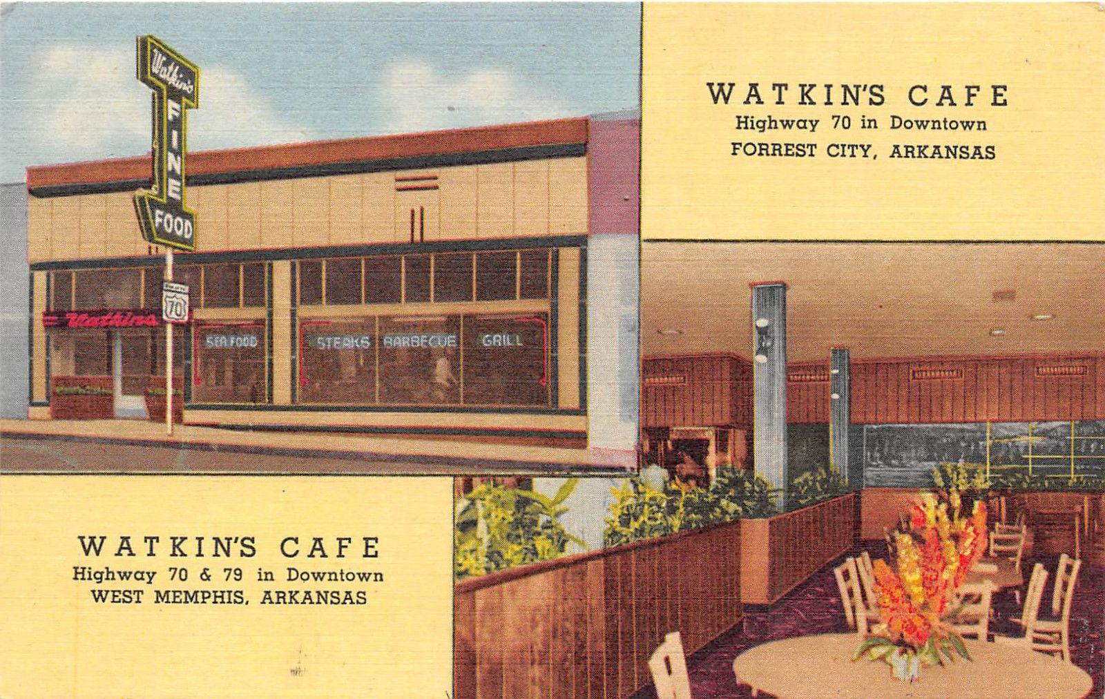 Arkansas Postcard Forrest City 7 West Memphis Watkin 039 S Cafe Ebay