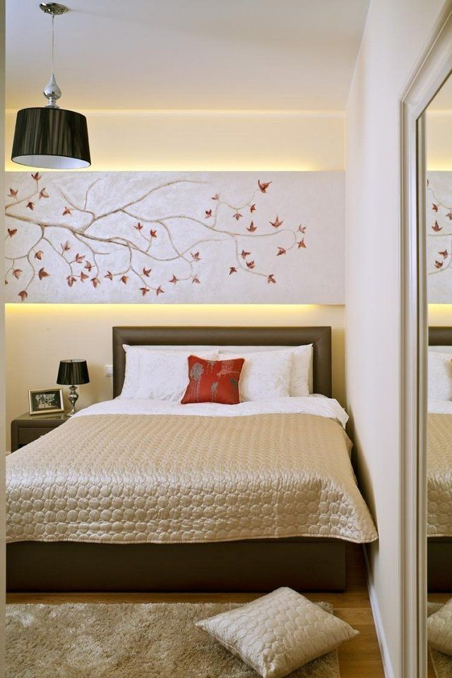 Schlafzimmer Ideen Gestaltung Feng Schui Anmutend Beige Braun Indirekte  Beleuchtung Wandpaneel