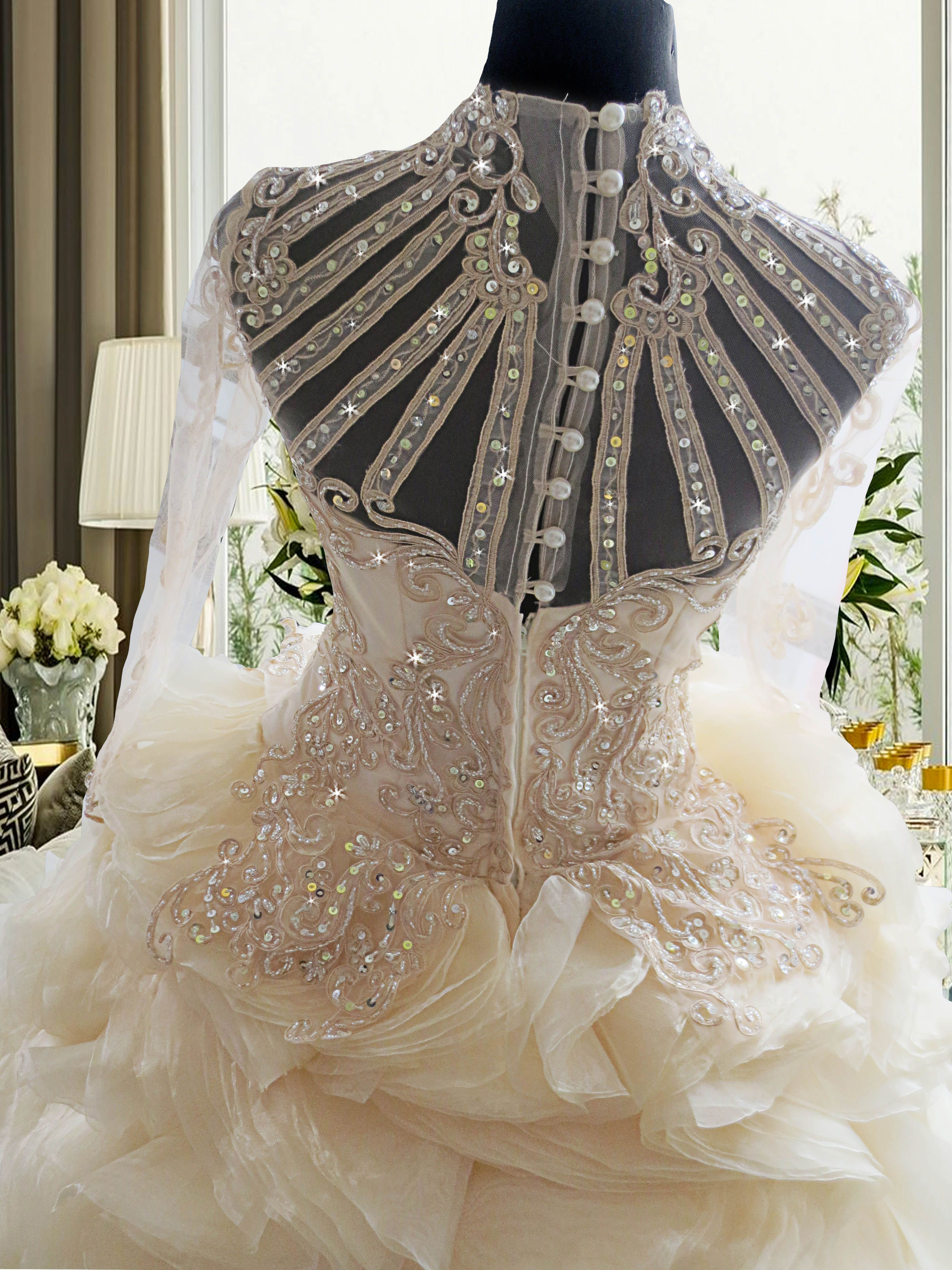 back lace wedding gown vintage wedding gown unique wedding gown with ...
