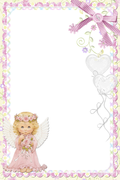 Cute Soft Pink PNG Frame with Angel | Рамочки и виньетки для ...