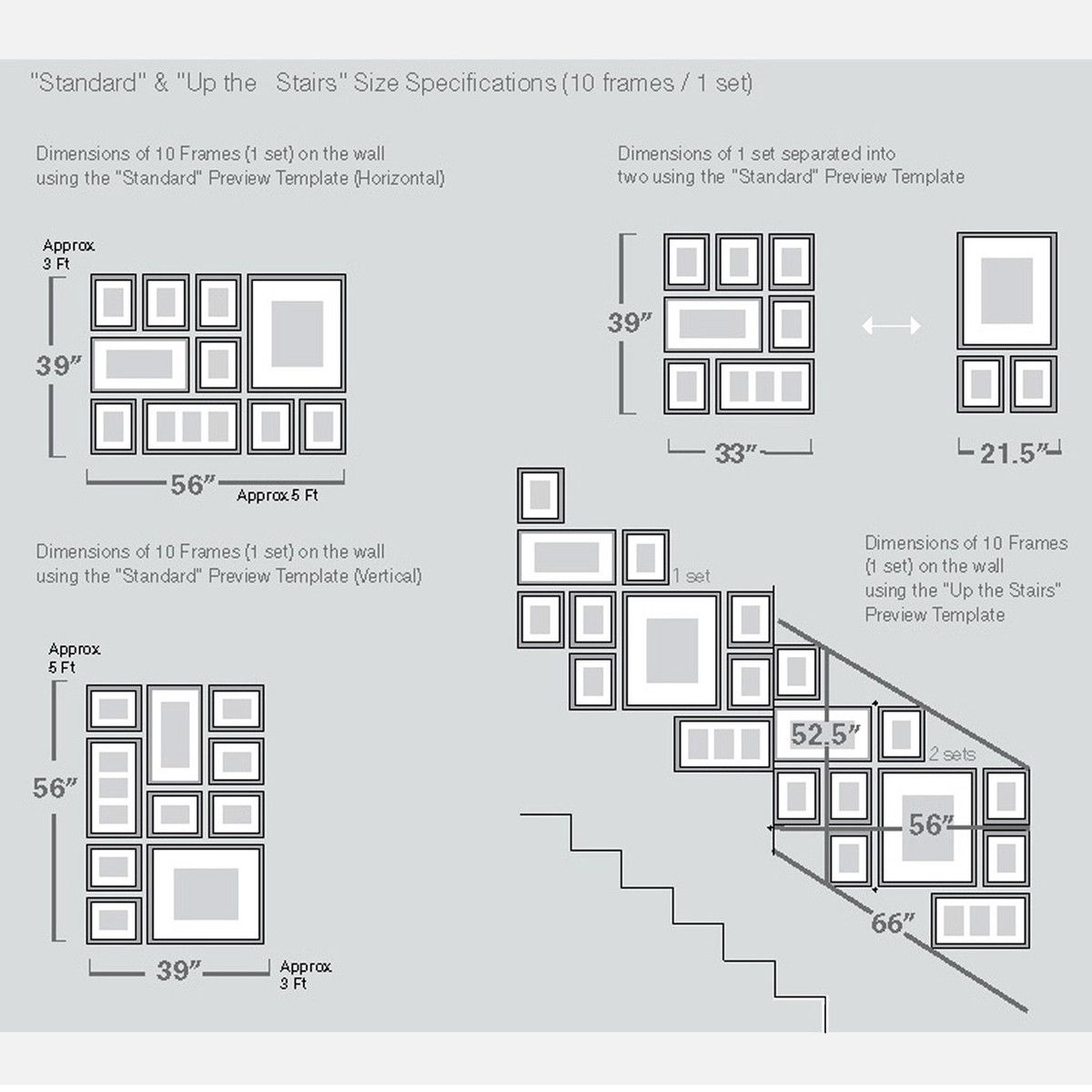 Picturewall Frame Kit Template Like The Stairway Layout