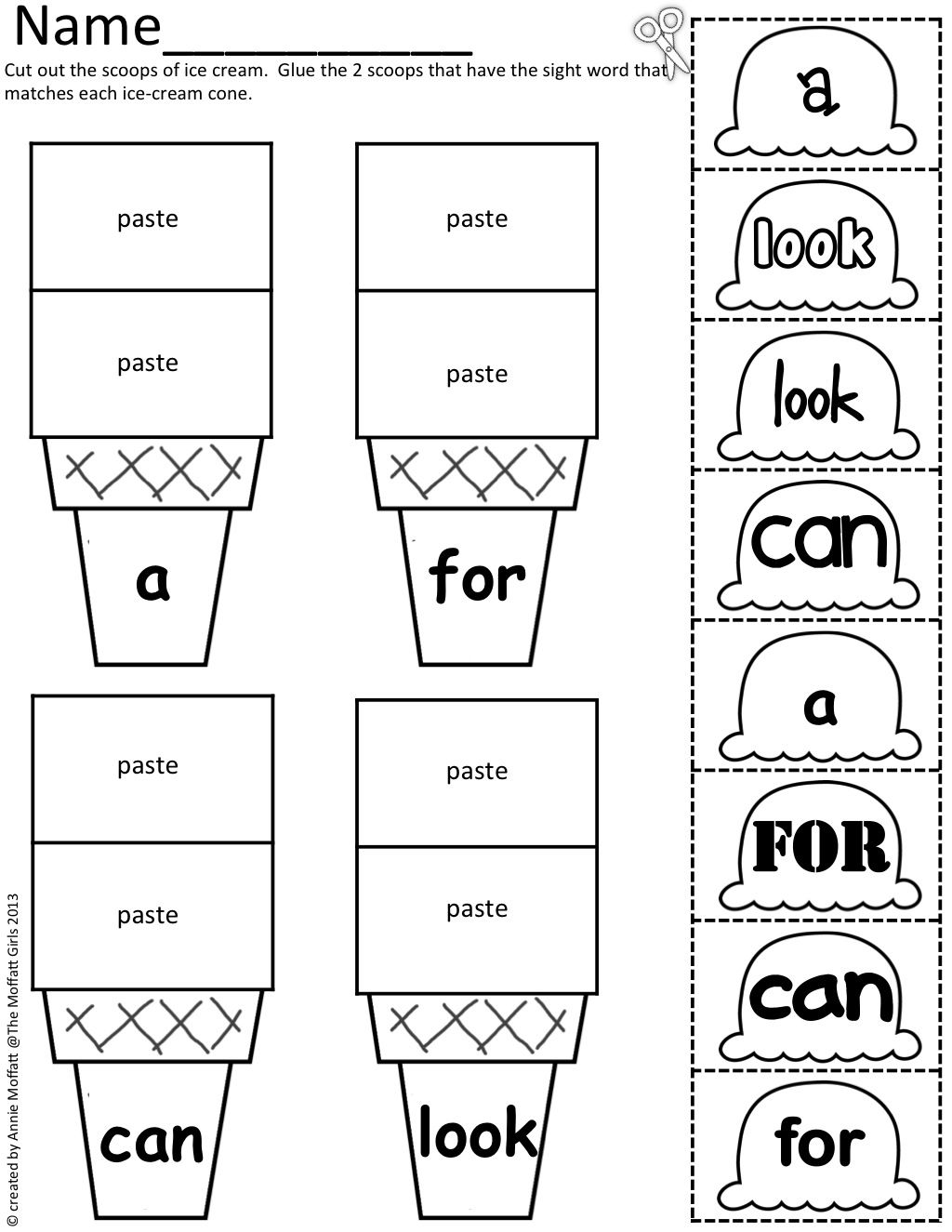 Sight Word Scoops!  Color, cut and paste ice sight words onto the matching cone.  The various fonts are great for helping students identify words in a variety of prints!