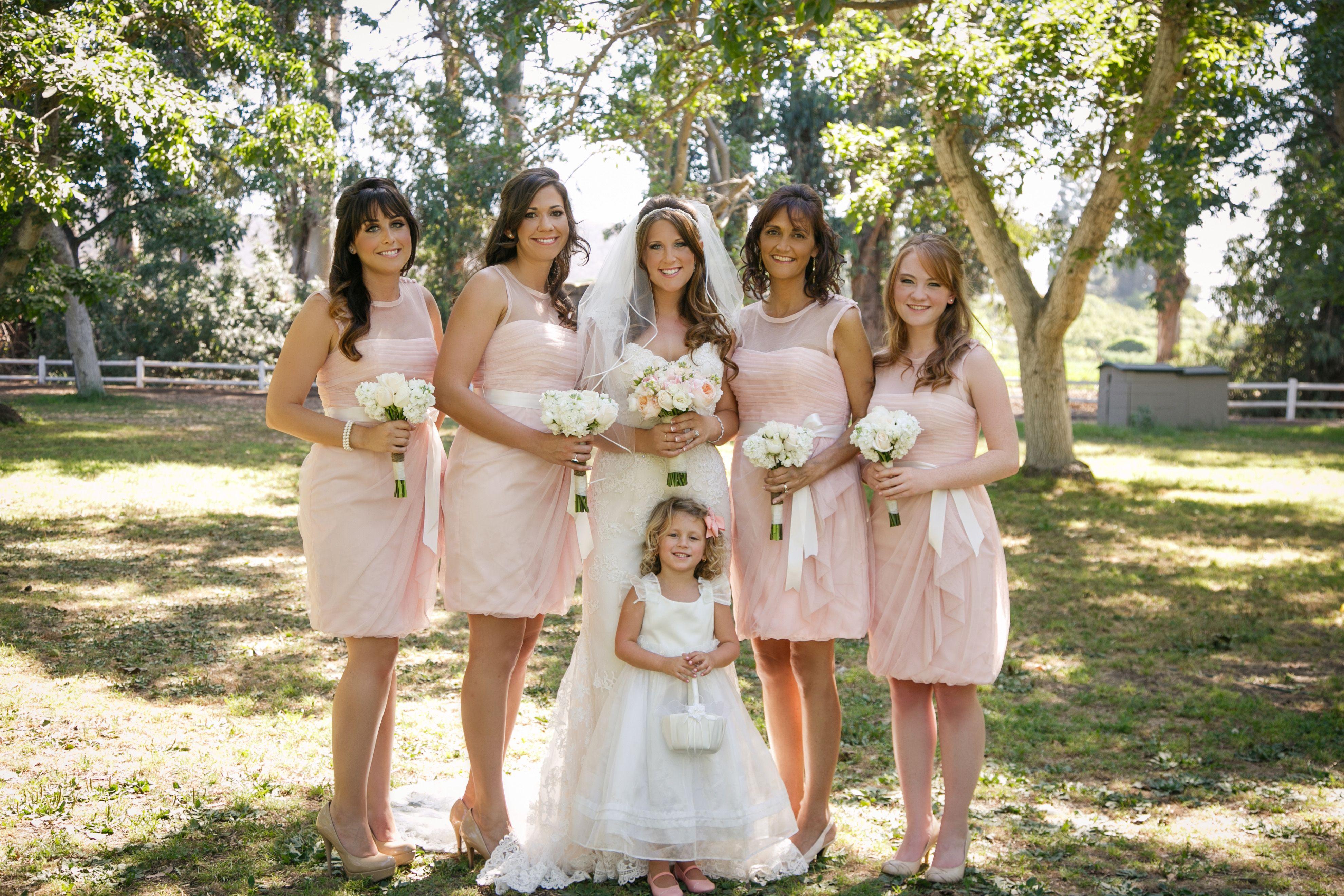 White by vera wang bridesmaid dresses in blush bobbin net dress
