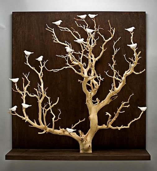 Large Wooden Wall Art birds in trees - largechris stiles (ceramic & wood wall