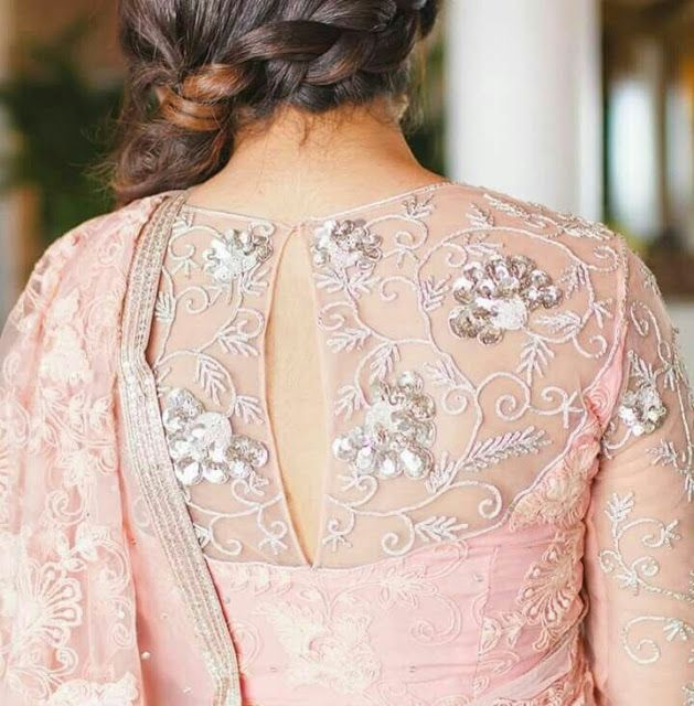 30 Pretty Sheer Back Neck Blouse Designs #blousedesigns