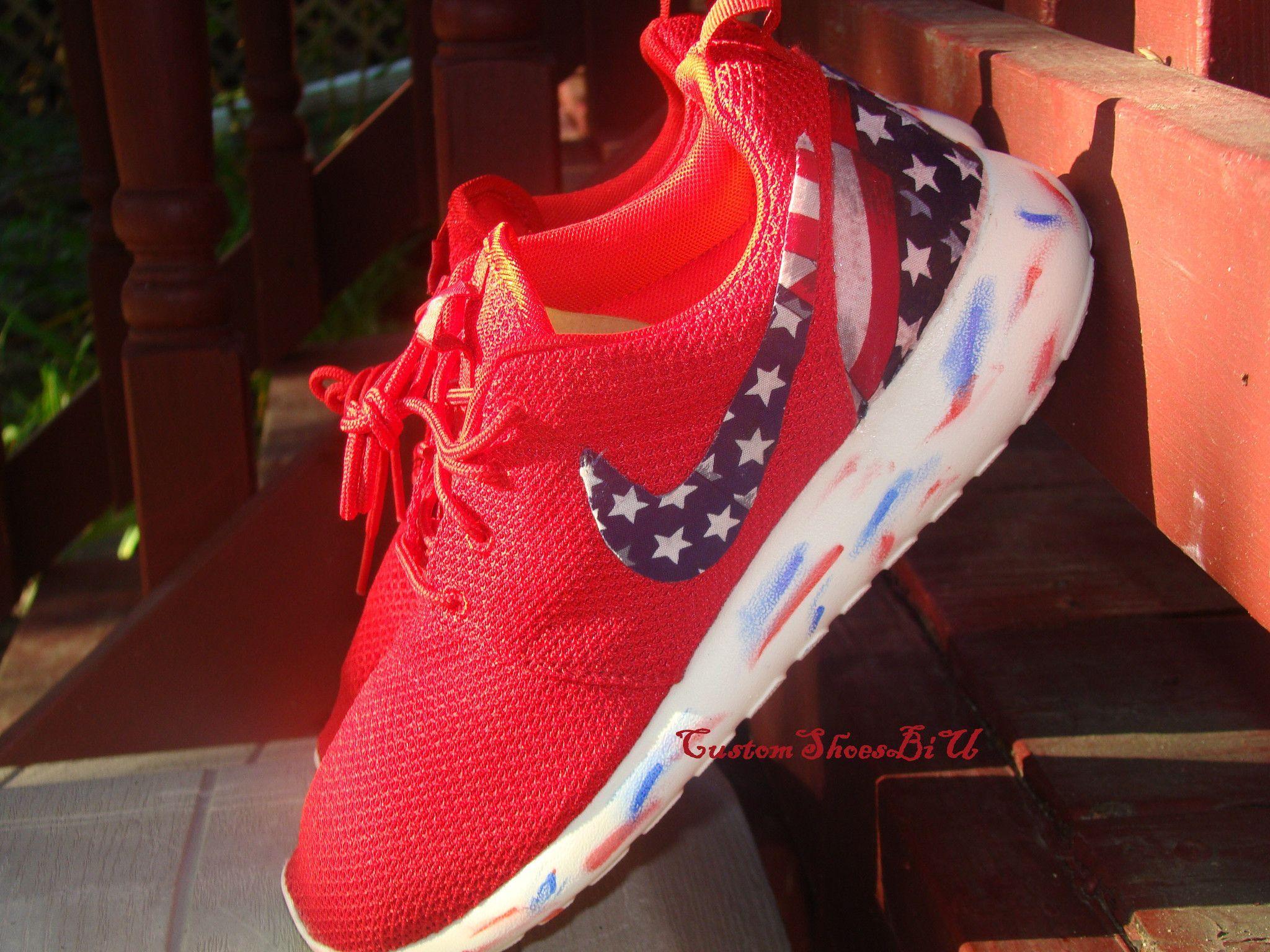 Custom Nike Roshe Run- Red Nike Roshe Runs - American Flag Print Marble  Sole- Women/ Men/ Kids